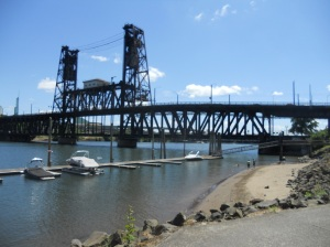 Steel Bridge from bike path south of Esplanade. One of those sunny days!