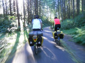action shot of Sean and Paul. Banks-Vernonia State Trail, OR