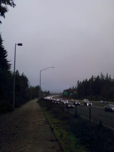 A line of cars on Hwy 26 from the bike path.