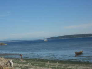 our first view of Port Townsend and the North Cascades mountains from the Larry Scott Trail