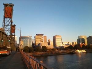 crossing the Hawthorne Bridge. Portland, OR